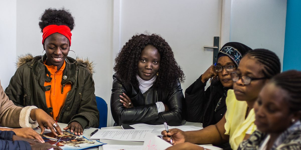 A group of migrant women attend a class to foster empowerment at a JRS Portugal centre in Lisbon.